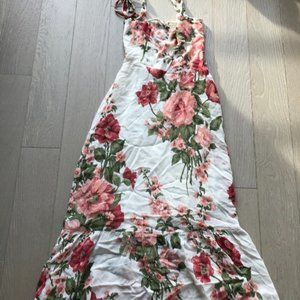 Reformation Nikita White Pink Floral Maxi Dress